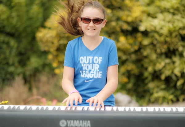 Playing piano outdoors